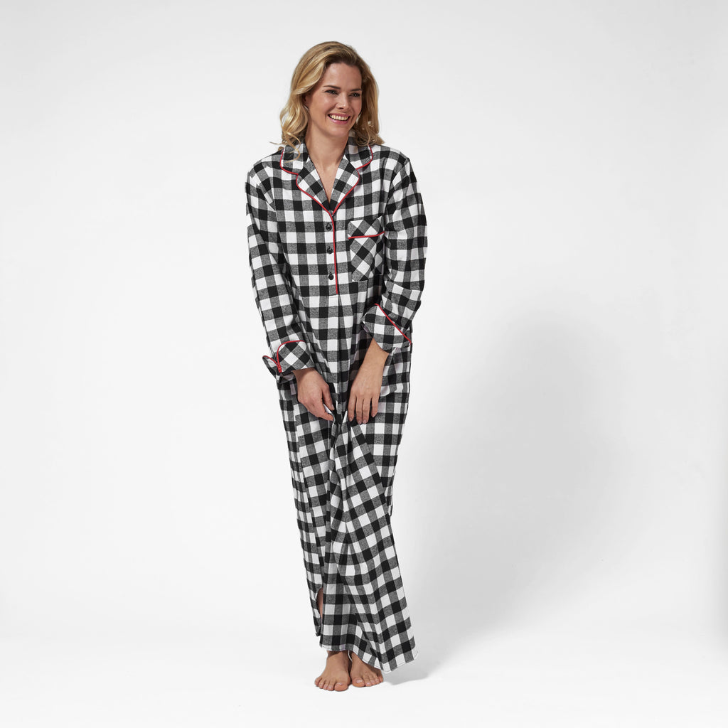 Rocky Mountain Flannel Long Flannel Nightshirt in Large Buffalo Check Front View