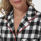 Rocky Mountain Flannel Long Flannel Nightshirt with Loon Logo in Large Buffalo Check Neckline View