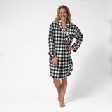 Rocky Mountain Flannel Knee-Length Flannel Nighshirt in Large Buffalo Check Front View