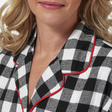 Rocky Mountain Flannel Knee-Length Flannel Nighshirt in Large Buffalo Check Neckline View