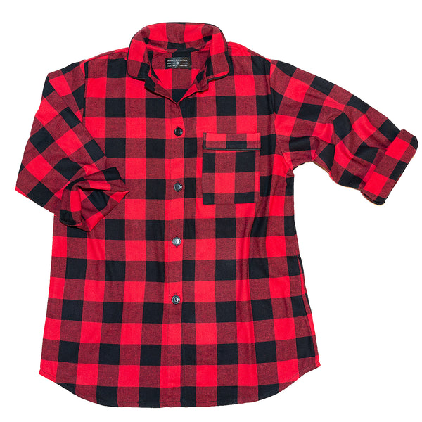115 / Woman's Easy Fit Flannel Nightshirt / Large Buffalo Check Red/Black