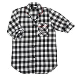 115 / Woman's Easy Fit Flannel Nightshirt / Large Black/White Buffalo Check