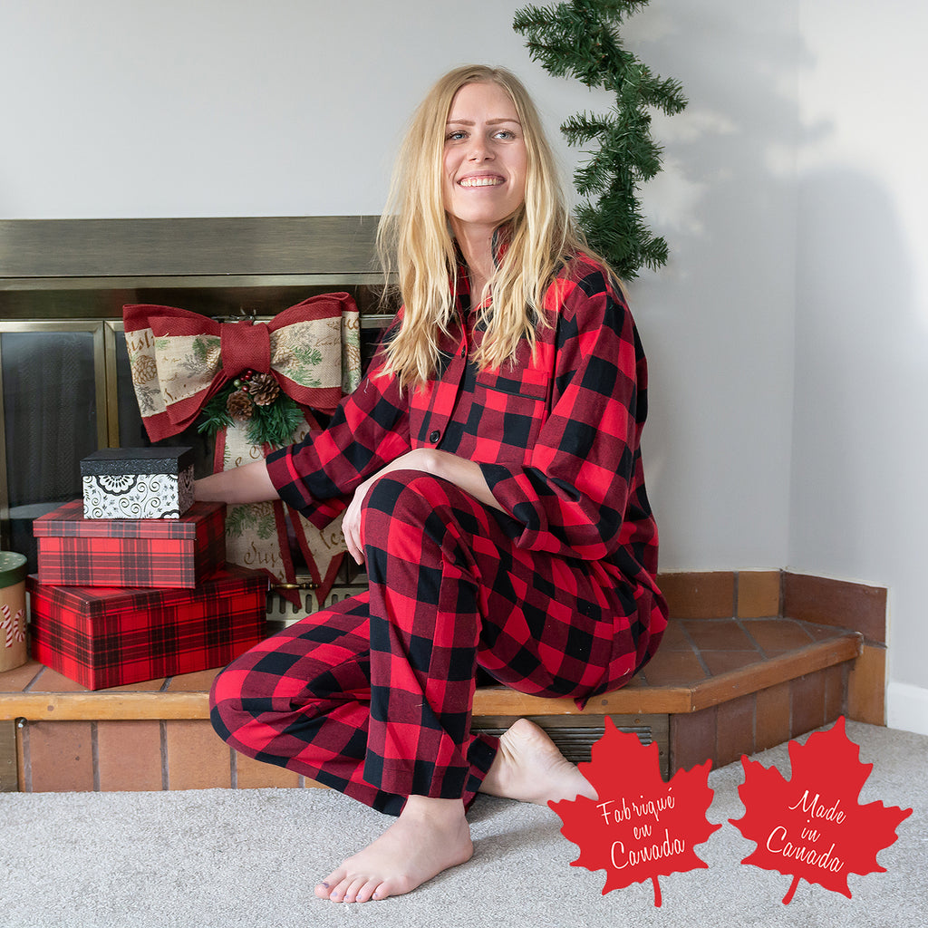 Easy Fit 2 Pc. Flannel Pyjamas in Large Buffalo Check Red