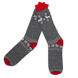 Merino Wool Socks in a Nordic Jacquard Design in Light Grey