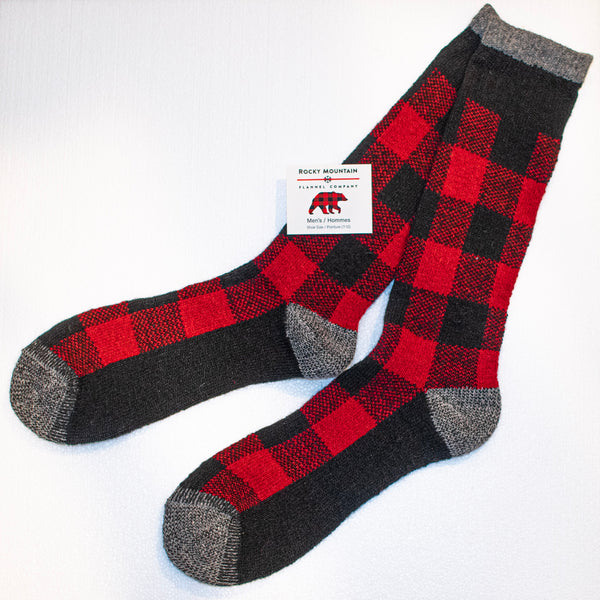 Men's Red Buffalo Check Sock