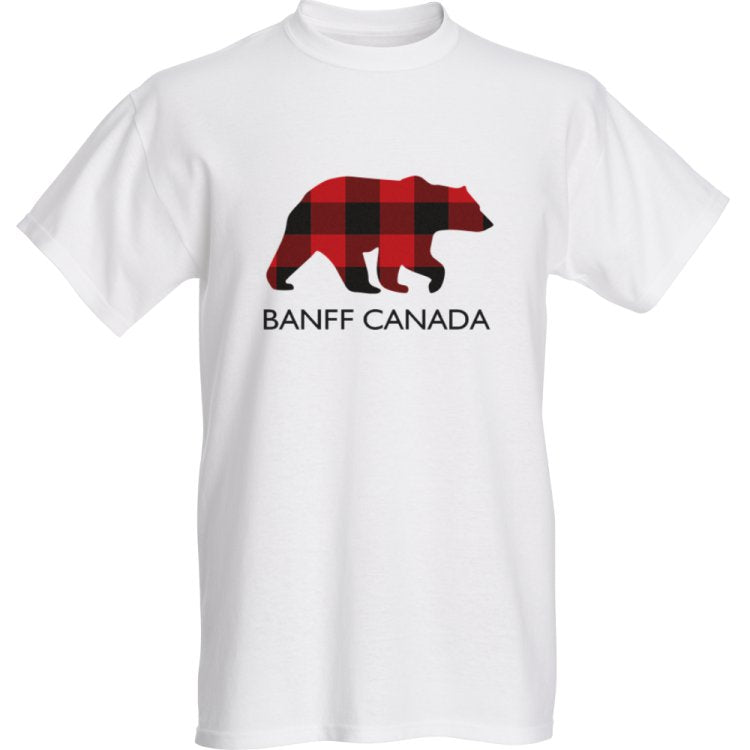Mens Red Bear T-Shirt With Banff Canada