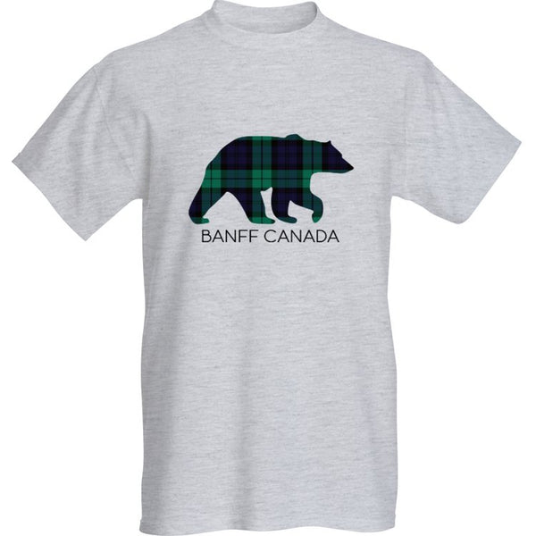 Grey Blackwatch Bear T-Shirt with Banff Canada