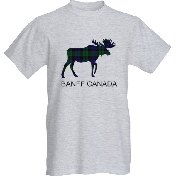 Grey Blackwatch Moose T-Shirt with Banff Canada