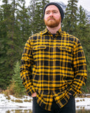 412 Mustard and Black Plaid Men's Flannel Shirt