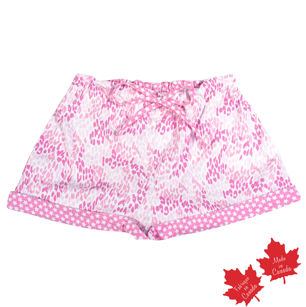 Shorts in Pink Cheetah Print with Contrast Star Print
