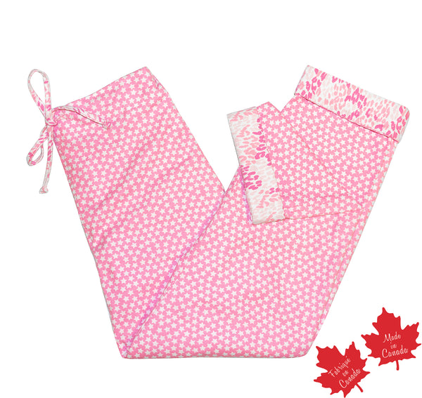 PJ Pant in Pink Star Print with Contrast Cheetah Print