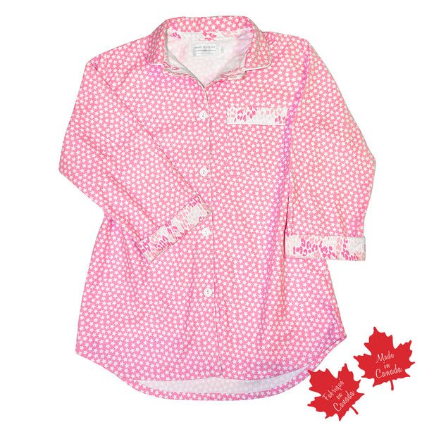115 / Woman's Easy Fit Nightshirt / Pink Star /Cheetah Contrast Trim