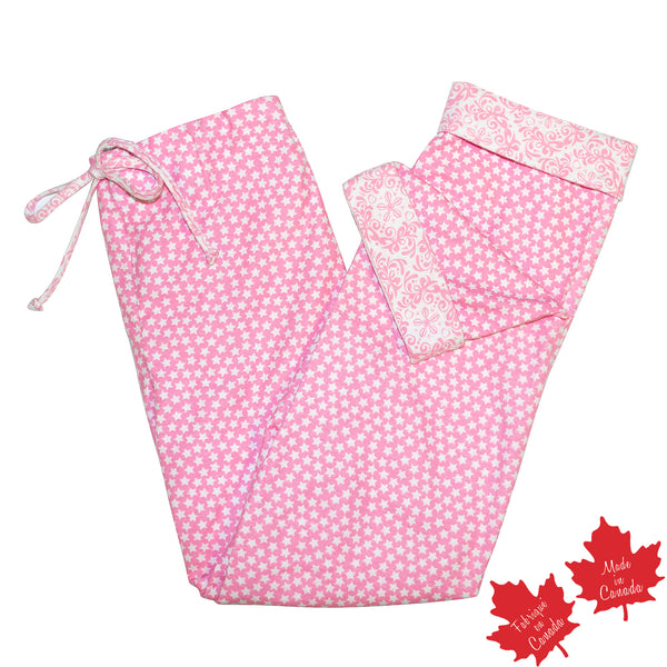 PJ Pant in Pink Star Print with Contrast Rocco Print