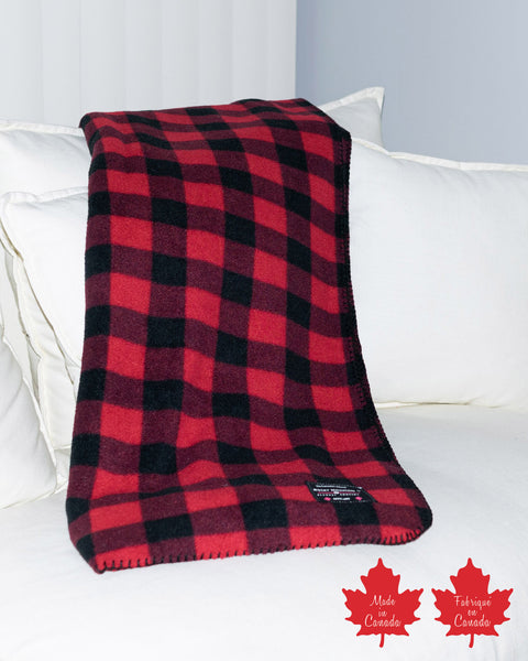 Red Black Buffalo Check Fleece Blanket
