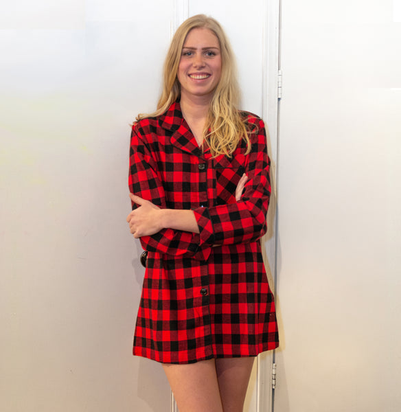 Classic Nightshirt in Red Black Buffalo Check