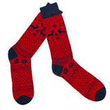 Merino Wool Socks in a Nordic Jacquard Design in Red