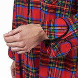 Rocky Mountain Flannel Long Flannel Nightshirt in Royal Stewart Tartan Cuff Sleeve View