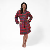 Rocky Mountain Flannel Knee Length Flannel Nightshirt in Royal Stewart Tartan Front View