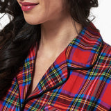 Rocky Mountain Flannel Knee Length Flannel Nightshirt in Royal Stewart Tartan Neckline View