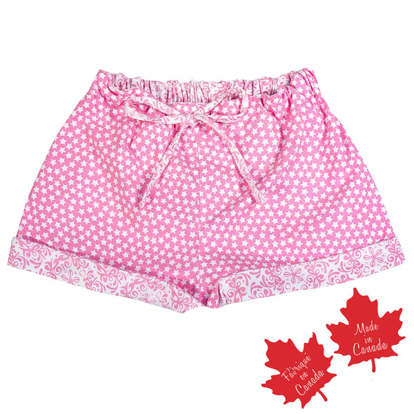 Shorts in Pink Stars with Contrast Rococo Print