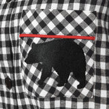 Rocky Mountain Flannel Easy Fit 2 Pc. Flannel Pyjamas with Bear Logo in Small Buffalo Check Cuff pocket View