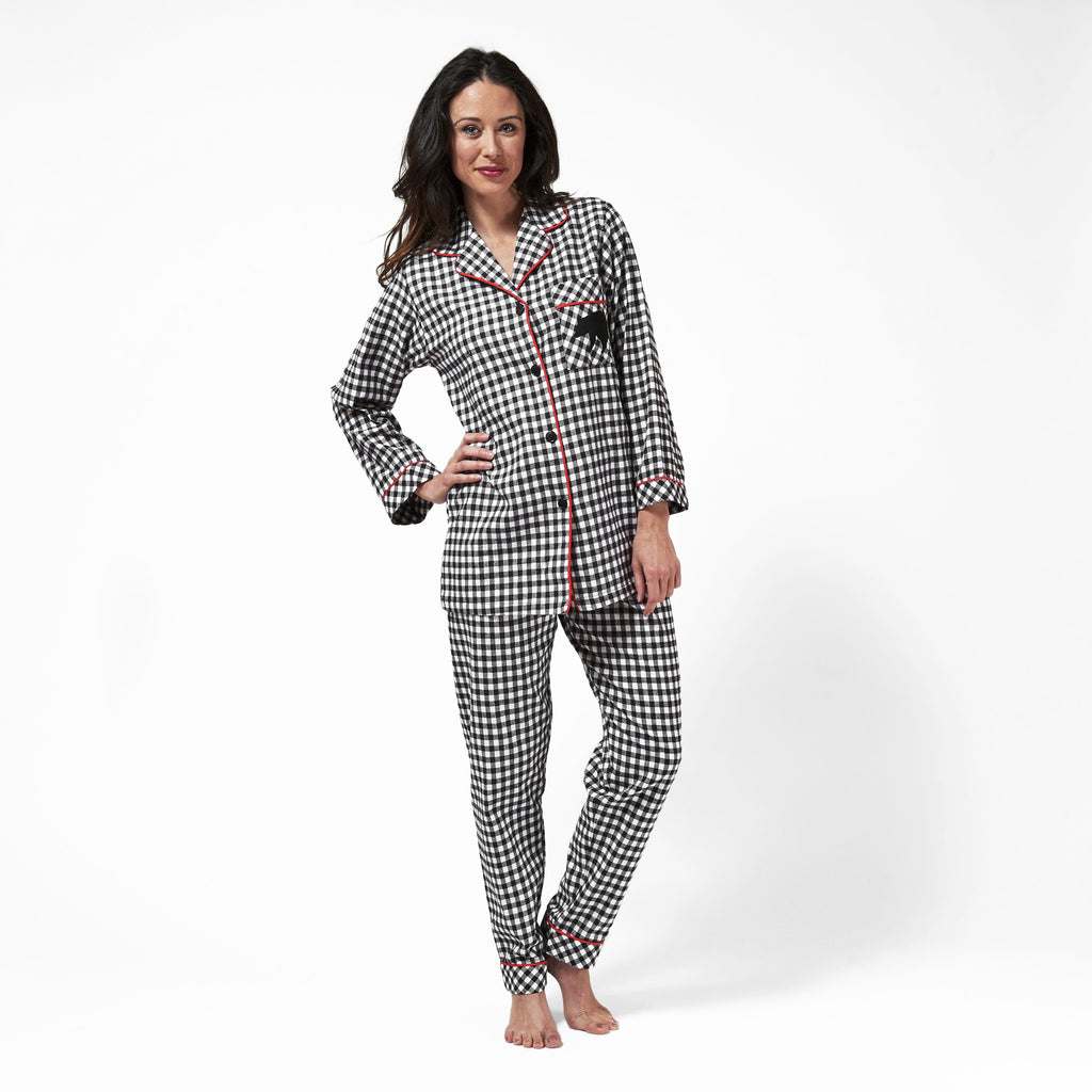 Rocky Mountain Flannel Classic 2 Pc Flannel Pyjamas with Bear Logo in Small Buffalo Check Front View