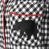 Rocky Mountain Flannel Classic 2 Pc Flannel Pyjamas with Bear Logo in Small Buffalo Check Pocket View