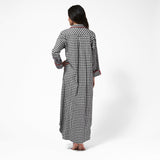 Rocky Mountain Flannel Long Flannel Nightshirt with Bear Logo in Small Buffalo Check Back View