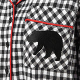 Rocky Mountain Flannel Long Flannel Nightshirt with Bear Logo in Small Buffalo Check Pocket View