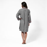 Rocky Mountain Flannel Flannel Knee-Length Nightshirt with Bear Logo in Small Buffalo Check Rear View