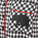 Rocky Mountain Flannel Flannel Knee-Length Nightshirt with Bear Logo in Small Buffalo Check Bear Logo Pocket