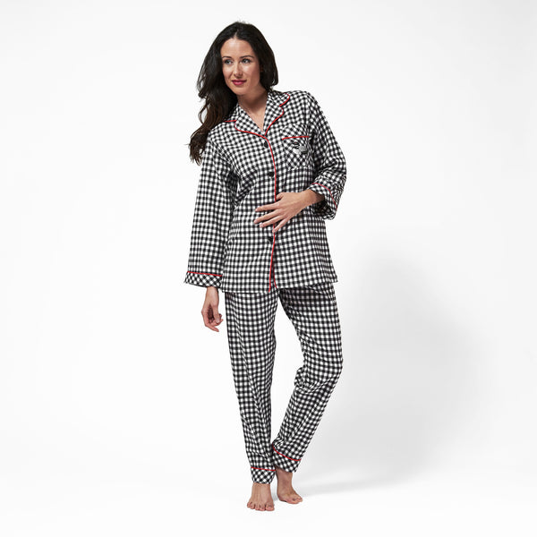 Rocky Mountain Flannel Classic 2 Pc Flannel Pyjamas with Loon Logo in Small Buffalo Check Front View