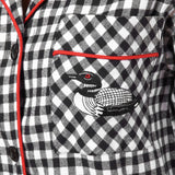Rocky Mountain Flannel Classic 2 Pc Flannel Pyjamas with Loon Logo in Small Buffalo Check Pocket View
