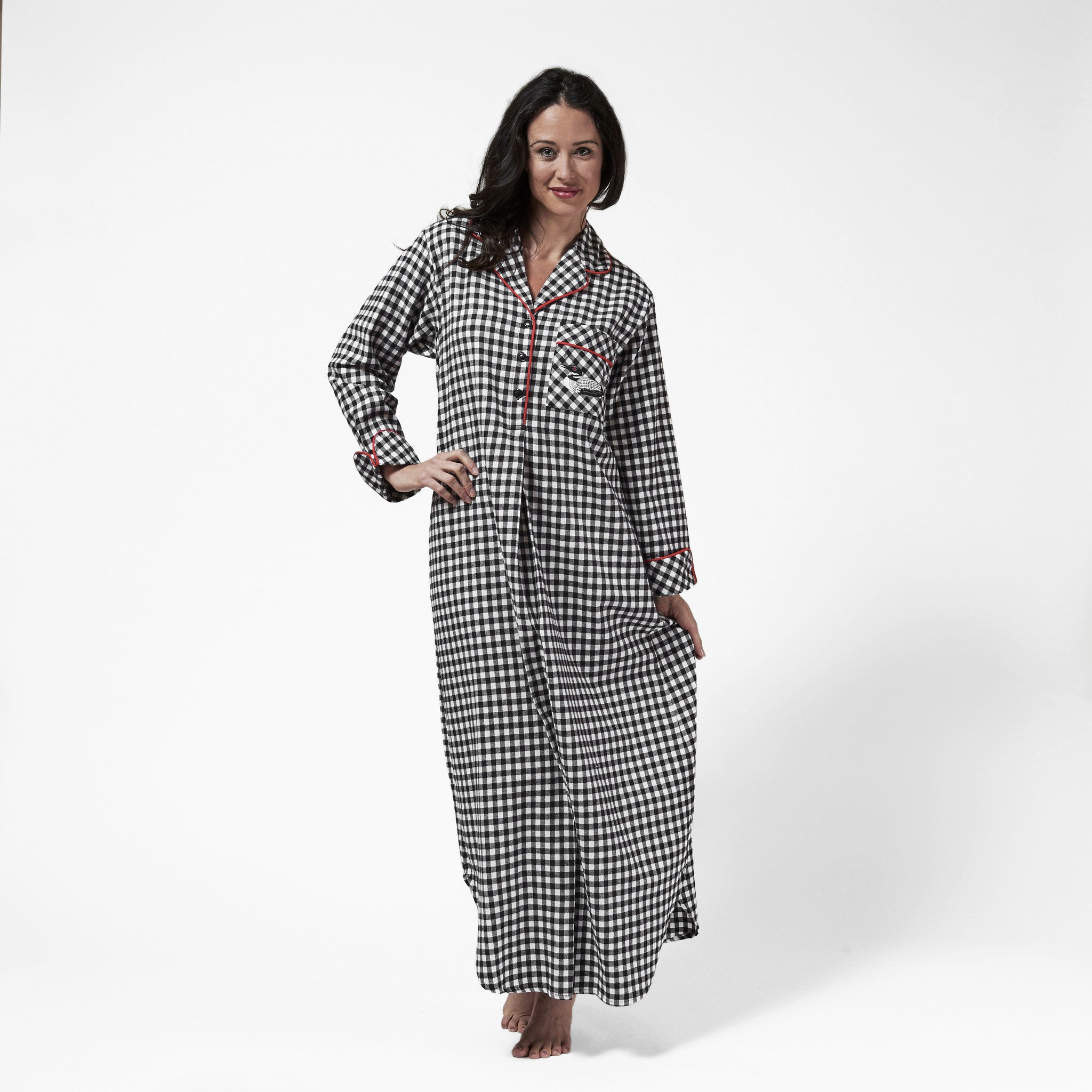 1003 / Woman's Long Flannel Nightshirt / Small Buffalo Check with Loon Logo