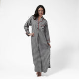 Rocky Mountain Flannel Long Flannel Nightshirt with Loon Logo in Small Buffalo Check Front View