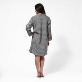 Rocky Mountain Flannel Knee Length Flannel Nightshirt with Loon Logo in Small Buffalo Check Back View