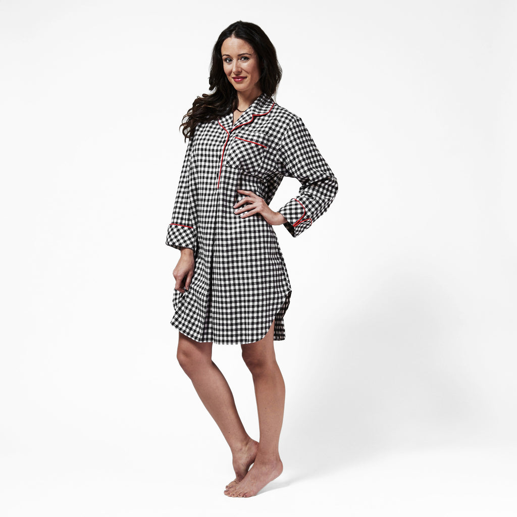 Rocky Mountain Flannel Knee Length Flannel Nightshirt in Small Buffalo Check Front View