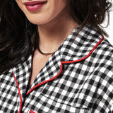 Rocky Mountain Flannel Knee Length Flannel Nightshirt in Small Buffalo Check Neckline View