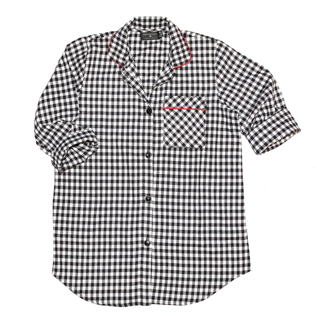 115 / Easy Fit Flannel Nightshirt / Small Black/White Buffalo Check
