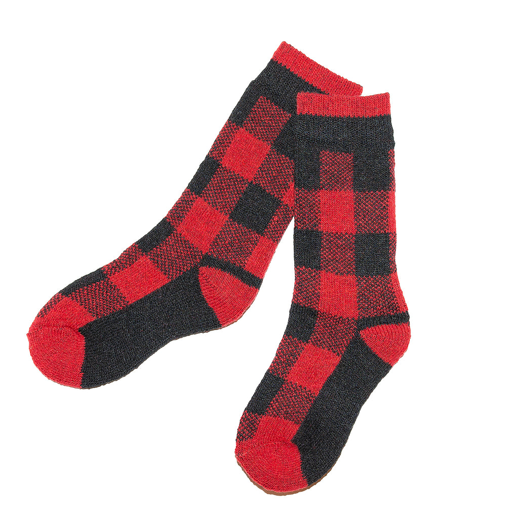 Kids Red Black Buffalo Sock
