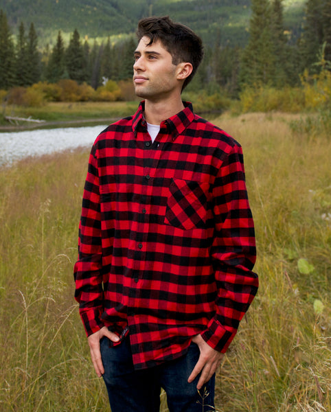 812 Mens Button Down Collar One Pocket Red Black Buffalo Check