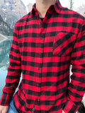 912 Men's L/S One Pocket Red Black Buffalo Check Flannel Shirt