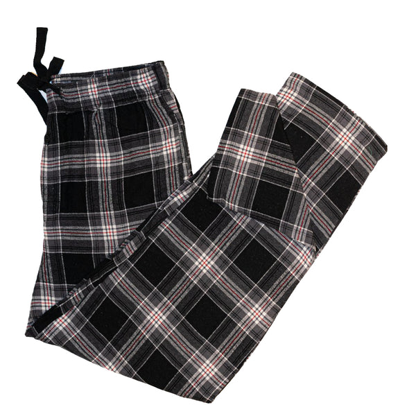 Men's Flannel Lounge Pant / Black and Grey Plaid with Red Blue Accent