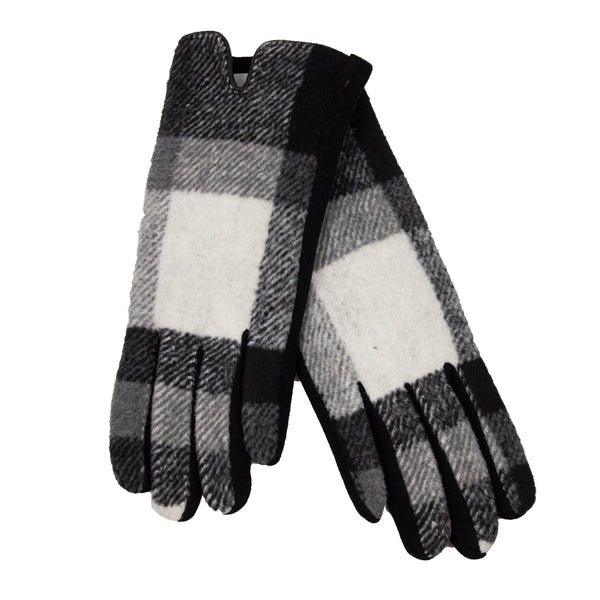 Black and White Plaid Ladies Winter Gloves