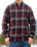 512 Wine and Navy Men's Flannel Shirt