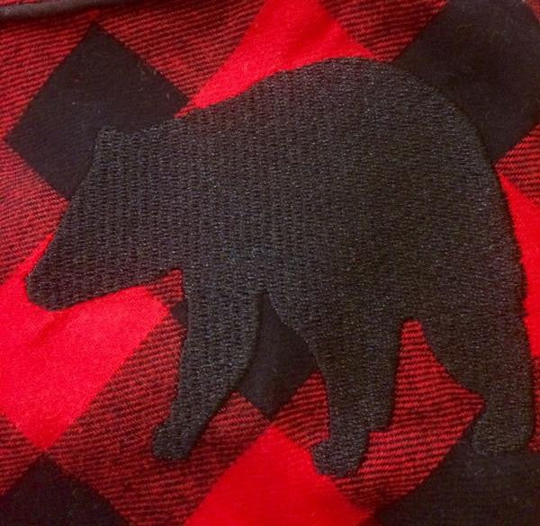 1003 / Woman's Long Flannel Nightshirt / Red/Black Buffalo Check with Bear Logo