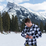 Unisex Flannel Shirt in Black and White Buffalo Check