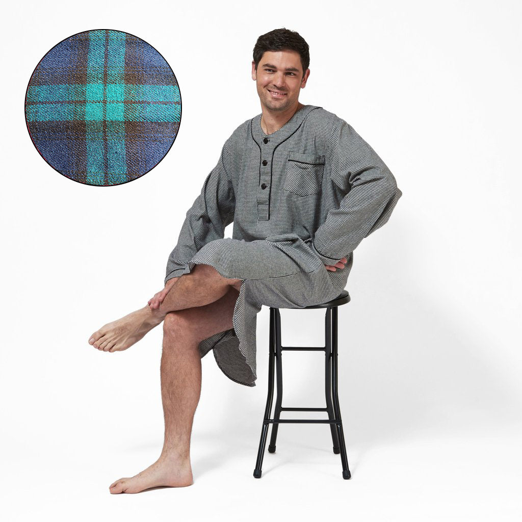 Men's Flannel Nightshirt in Blackwatch