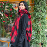 Red & Black Buffalo Check Blanket Scarf