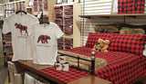 100% COTTON HEAVYWEIGHT FLANNEL SHEET SET RED/BLACK BUFFALO CHECK